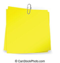 Colorful sticky notes attached with metallic paper clip...