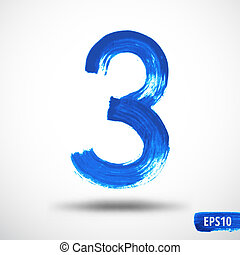 Watercolor Three Number. Grunge Background