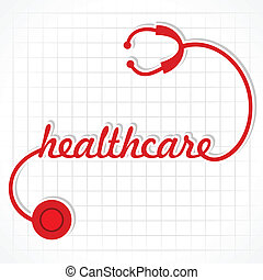 Stethoscope make healthcare word stock vector