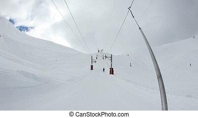 Skiing - Using ski lift