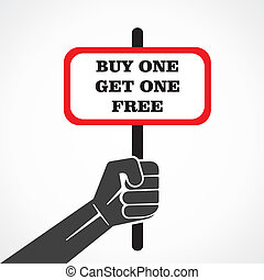 buy one get one free word banner hold in hand stock vector