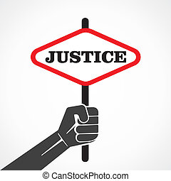 justice word banner hold in hand stock vector