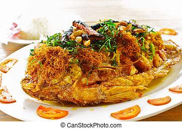 """Fried """"Tub Tim"""" fish with Thai herb"""