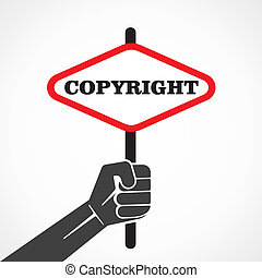 copyright word banner hold in hand