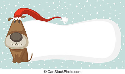 Christmas card - Cartoon dog with Santa hat and space for...