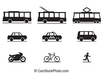 Public Transportation Icons - vector icons with a traffic...
