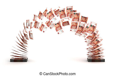Ruble Transfer - Yuan Transfer (isolated with clipping path)