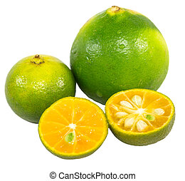 Calamansi and Lime - Calamansi and lime over white...