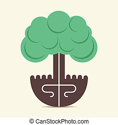 creative tree by using of hand