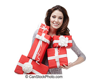 Pretty woman hands a great amount of gift boxes - Pretty...