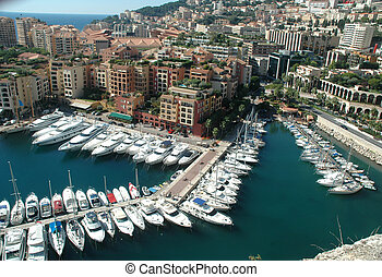 Monte Carlo - Aerial view of Monte Carlos harbor, marina and...