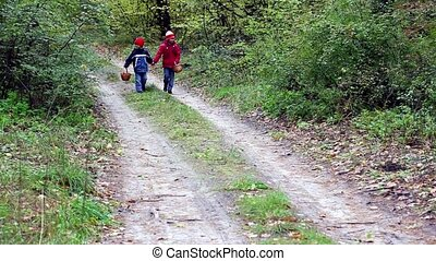 children walk in the woods