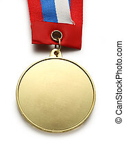 Metal medal with tricolor ribbon