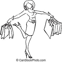 Joyful girl with purchases - Vector monochrome picture with...