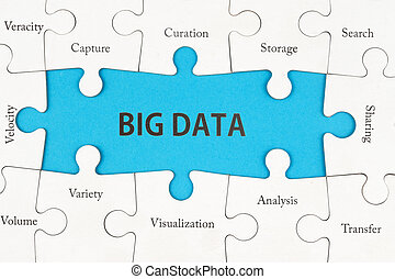 Big data concept words on group of jigsaw puzzle pieces