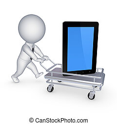 Tablet PC on a pushcart.Isolated on white.3d rendered.
