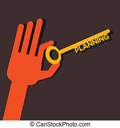 planning key in hand stock vector