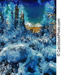 Digital structure of painting. Winter forest - This image...