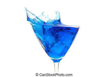 Blue cocktail beverage splash over a white background