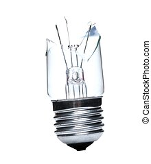Bulb - Broken lightbulb isolated on white