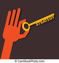 Strategy key in hand stock vector