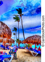 Digital structure of painting Dominican beach - This image...