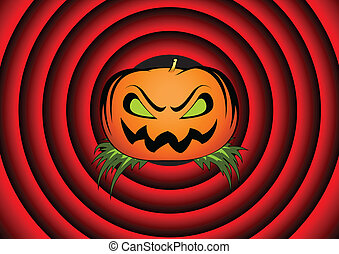 Halloween card with pumpkin and movie ending background