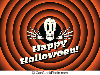 Halloween card with skeleton and movie ending background