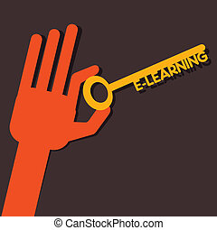 E-learning key in hand stock vector