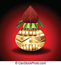 Vector Golden Kalash Vector illustration