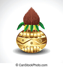 Golden Kalash With Coconut Vector