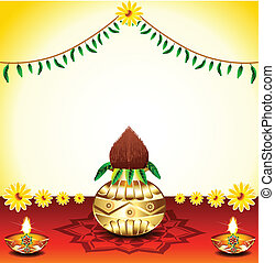 Festival Background With Kalash Vector illustration