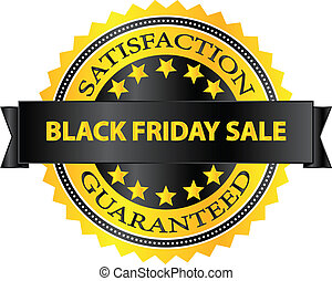 Black Friday Sale Satisfaction Guaranteed Badge Vector...