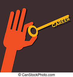 Career key in hand stock vector