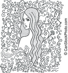 Half-turned girl - Artistic vector drawing of a beautiful...