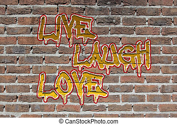 Old dark red brick wall texture with graffity - Old dark red...