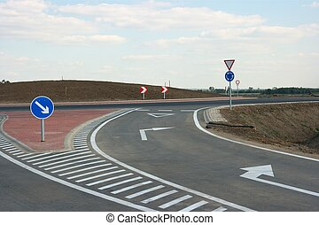 Roundabout on an empty  road without traffic