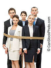 Group of business people tied with rope, isolated on white....