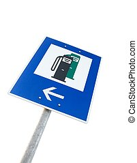 Fuel station - Nearby fuel station traffic sign isolated on...