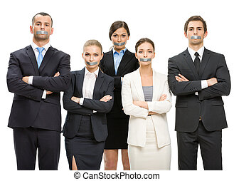 Group of managers with taped mouths