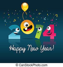 Happy New Year 2014 Cartoon