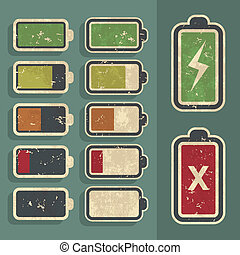 Retro Battery Level Indicator Kit - Set of retro grunge...