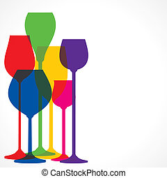 colorful wine glass background - colorful wine glass vector...