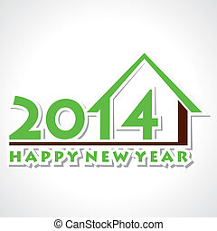 happy new year 2014 home concept background vector