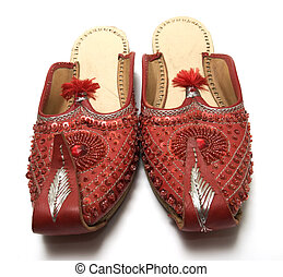 Red Indian sandals. Hand made.