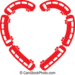 Heart Train vector illustration