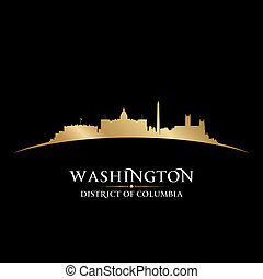 Washington DC city skyline silhouette black background -...