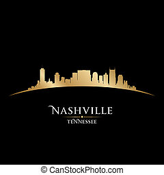 Nashville Tennessee city skyline silhouette black background...