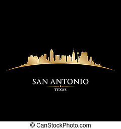 San Antonio Texas city skyline silhouette black background -...