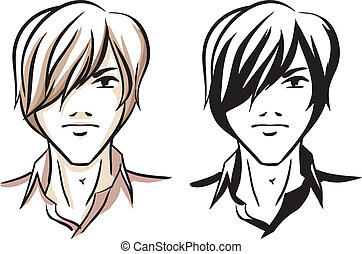 Fashion man - Vector image with portrait of young man with...